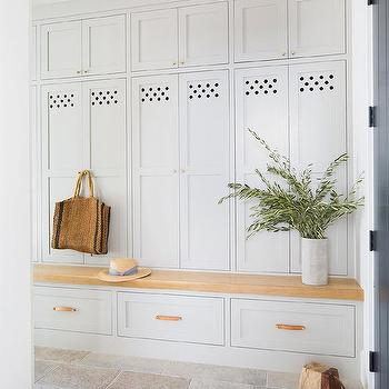 Light Gray Mudroom Lockers with Blond Wood Bench