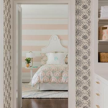 White And Pink Wall Stripes Design Ideas