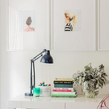 White Parsons Desk With Pink Ghost Chair