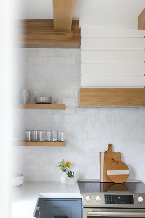 Blond Floating Shelves On Shiplap Walls Transitional