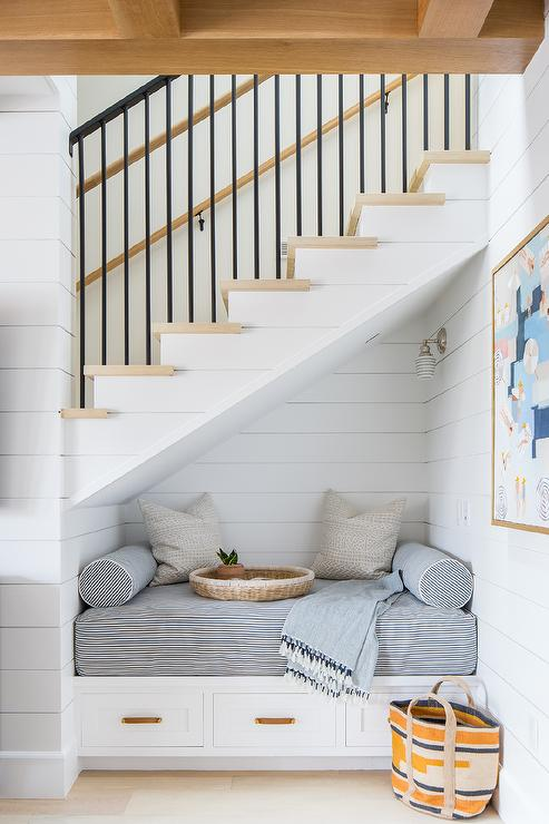 Under Staircase Shiplap Reading Nook Transitional Living Room