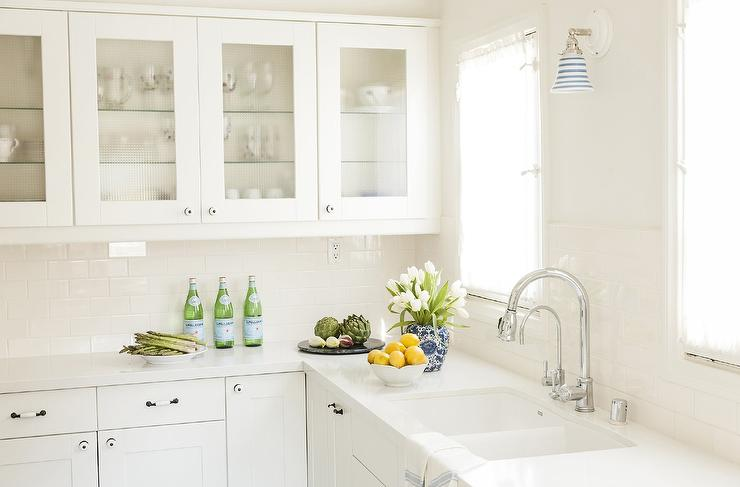 All White Kitchen with Vintage Glass Front Cabinets ...