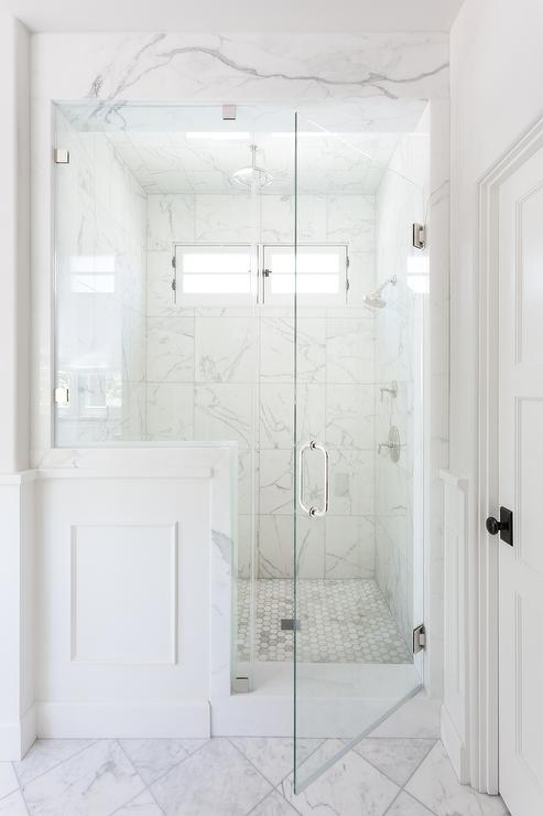 Glass And Wainscoting On Shower Enclosure Transitional