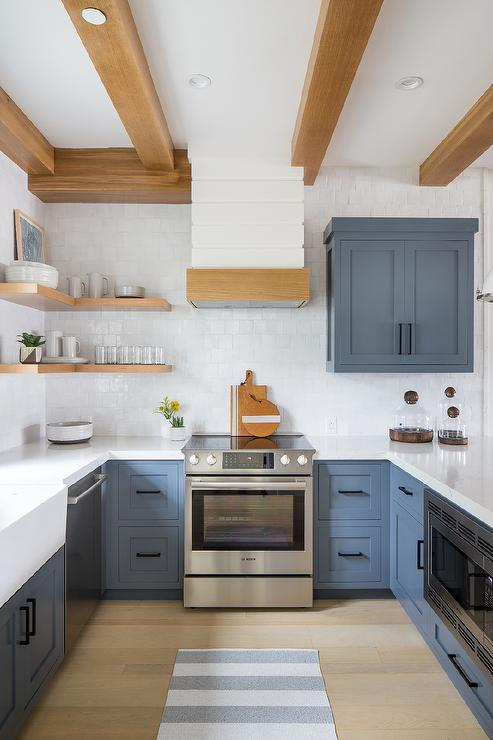 Blue Shaker Kitchen Cabinets With Gray Stripe Runner Transitional Kitchen