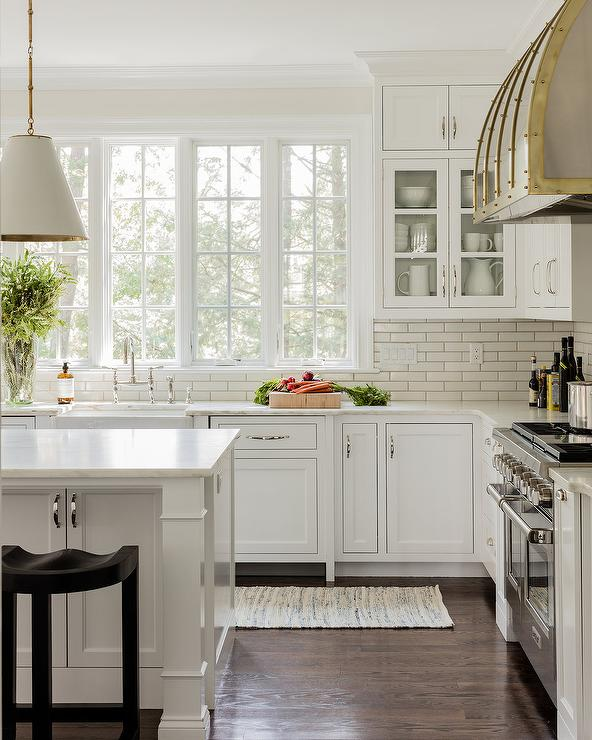 White Brick Tiles With Light Gray Grout Transitional Kitchen