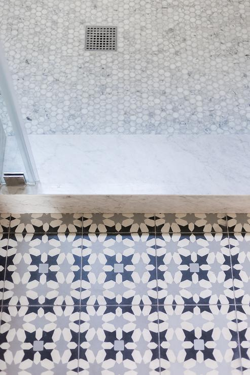 Gray And Blue Mosaic Bath Floor Tiles Transitional Bathroom