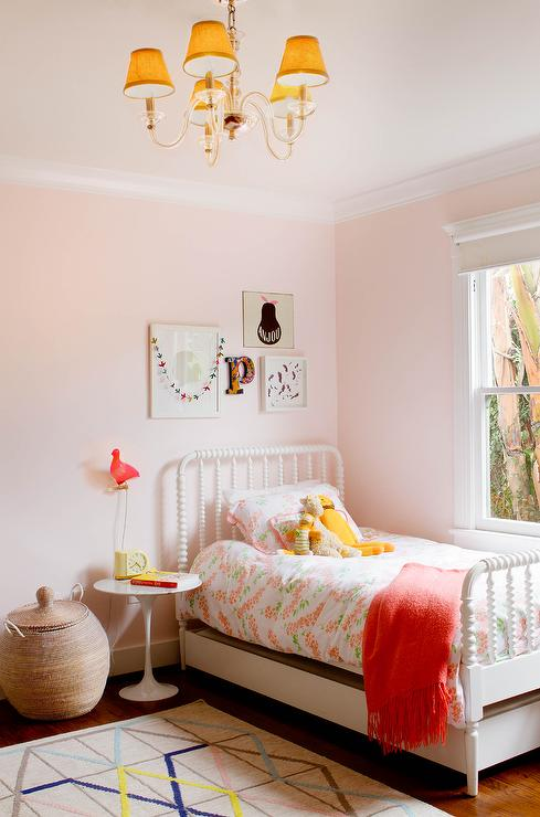 White Jenny Lind Trundle Bed on Pale Pink Walls   Transitional