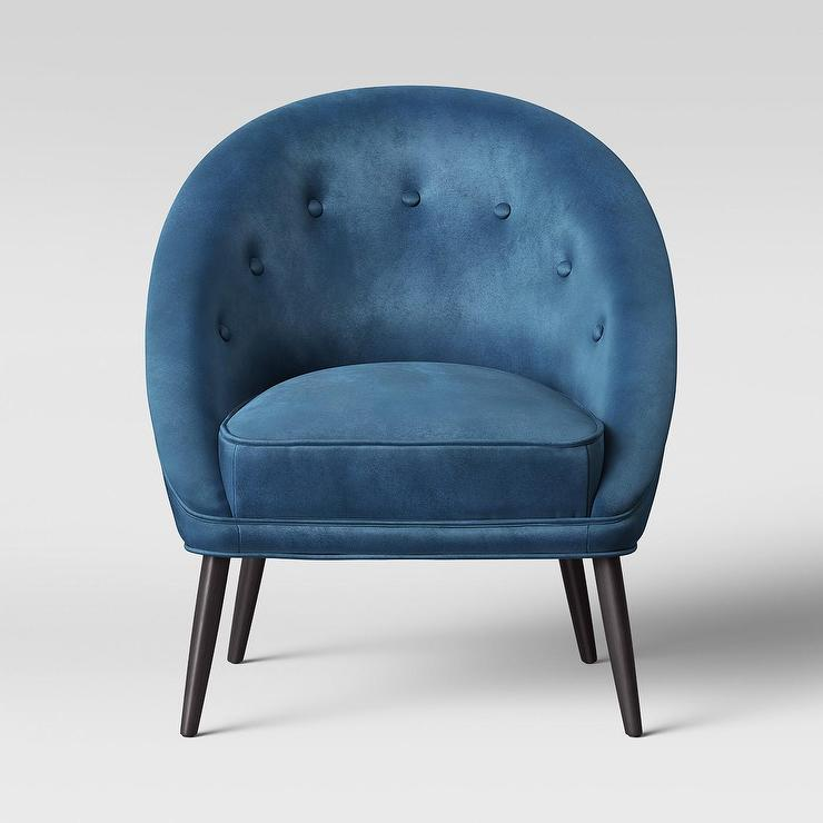Ansley Peacock Blue Button Tufted Tub Chair