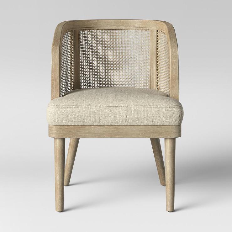 - Opalhouse Juniper Cane White Washed Wood Barrel Chair