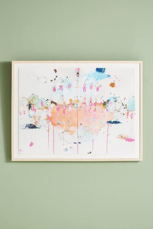 Sugarsong Pink Dripping Watercolor Matted Wall Art