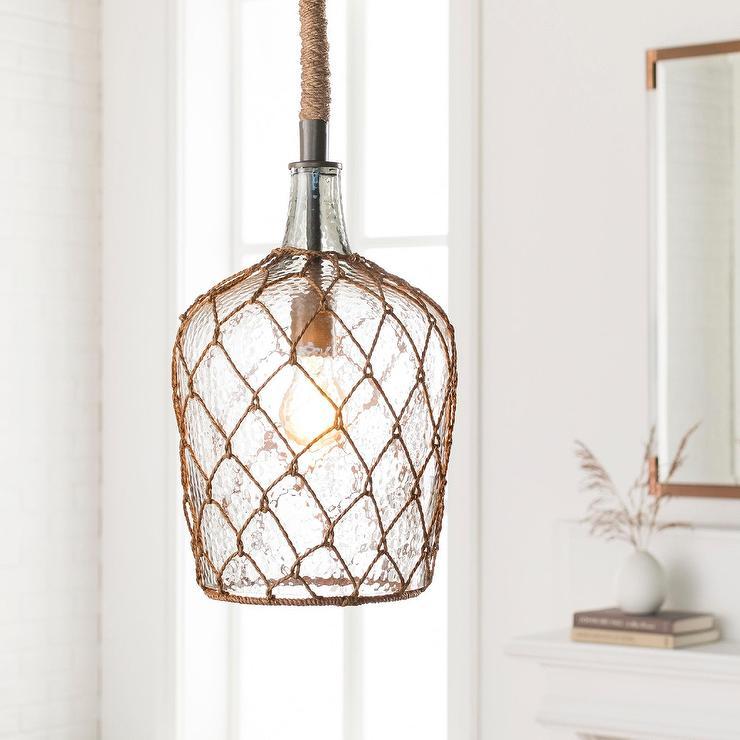 Rosica textured glass jug wicker pendant light aloadofball Images