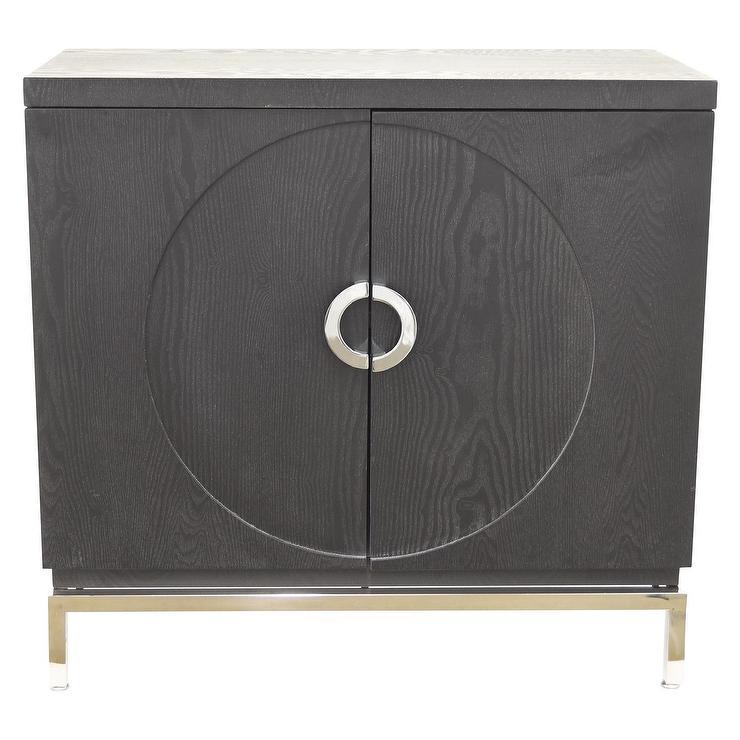 Three Hands Black Wood Geometric Doors Cabinet