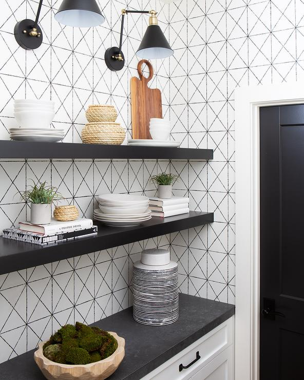 White Pantry Cabinets With Black Floating Shelves Transitional