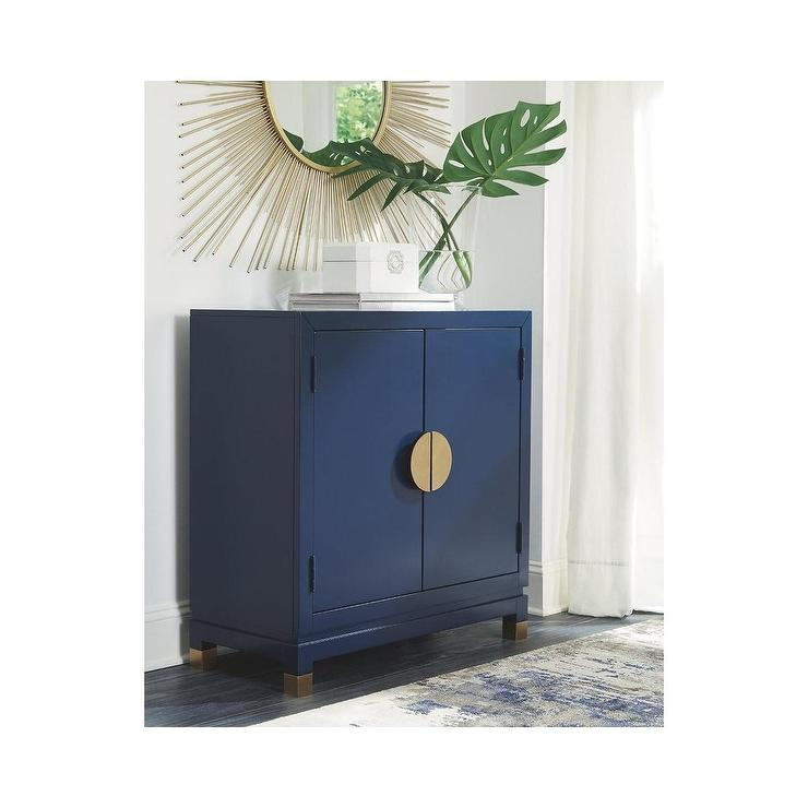 Ashley Walentin Navy Wood Brass Accent Cabinet