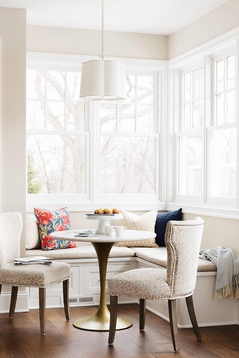 Brilliant Shaped Breakfast Nook With Gold Tulip Table Transitional Uwap Interior Chair Design Uwaporg