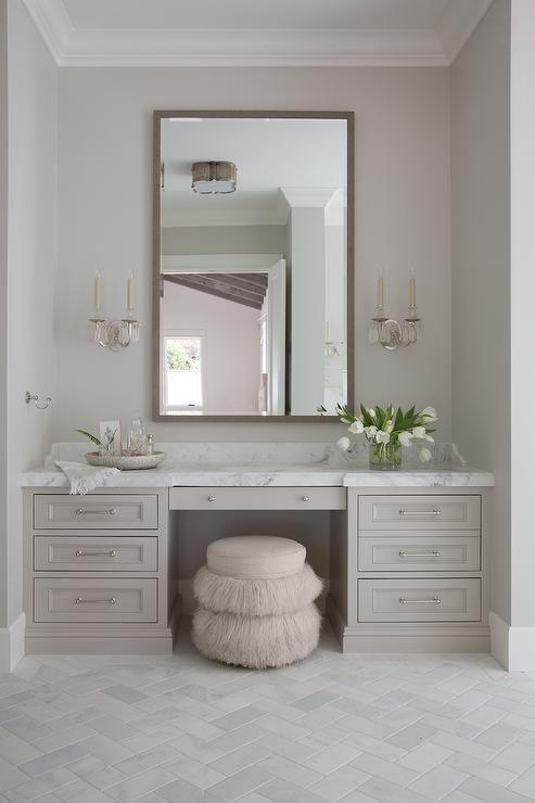 Light Gray Bath Vanity Cabinets Transitional Bathroom