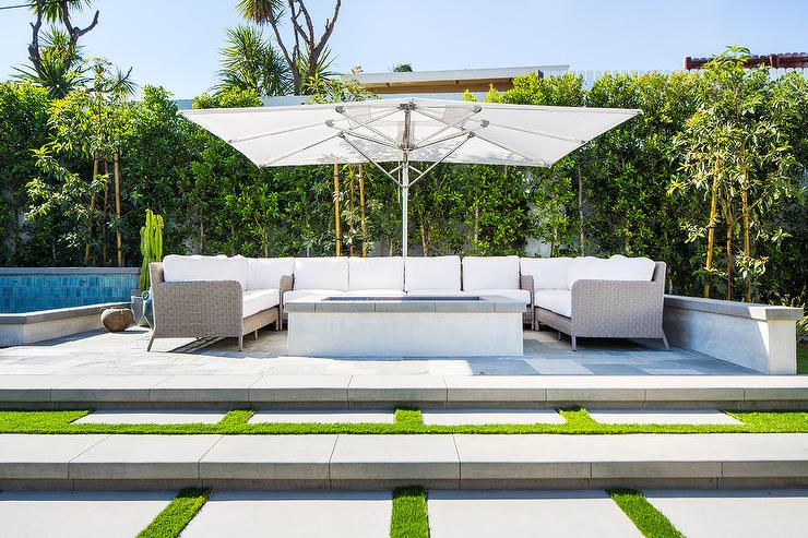 U Shaped Gray Wicker Outdoor Sectional Transitional Deck Patio