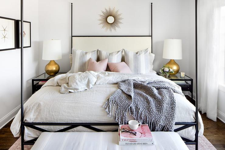 Ivory and Black 4 Poster Bed with Blush Pink Pillows ...