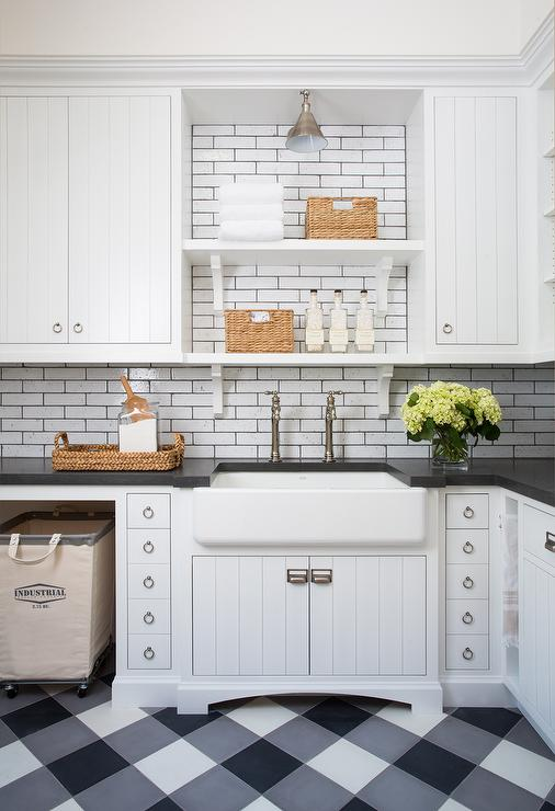 Shiplap Laundry Room Cabinets With Black And White Plaid
