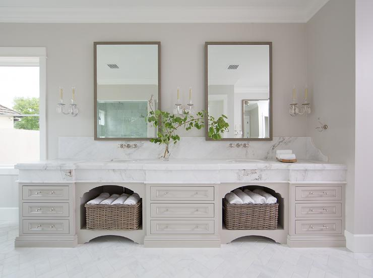 Reclaimed Wood Double Washstand With Oval Sinks And Brass