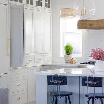 Light Gray Cabinets With White Glazed Subway Tiles