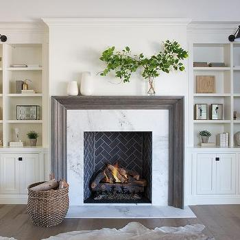 Fireplace With Floating Shelves Transitional Living Room
