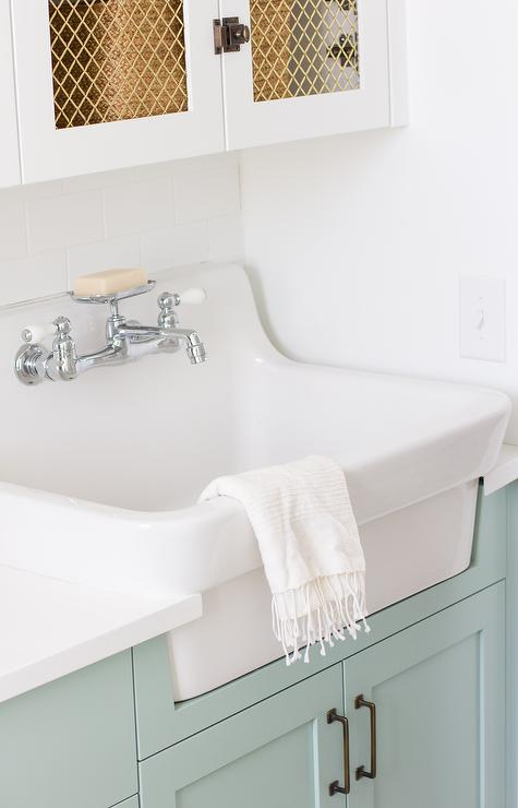 Vintage Laundry Room Sink And Faucet Transitional