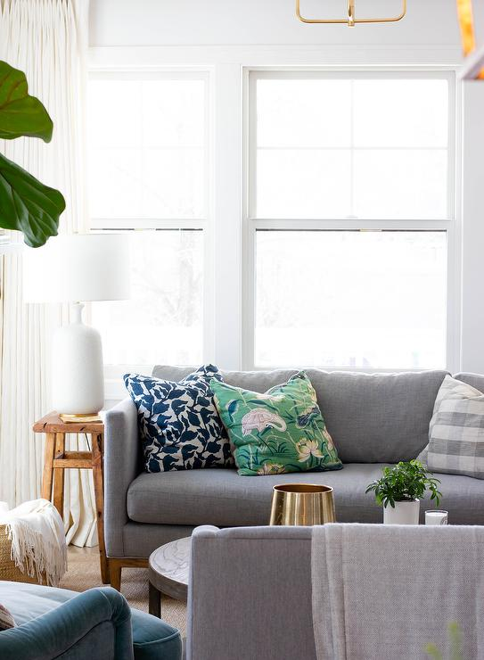 Dark Gray Sofa with Green and Blue Pillows - Transitional ...