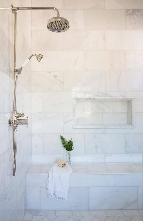 Marble Pencil Tiles Framing marble Shower Niche - Transitional ...