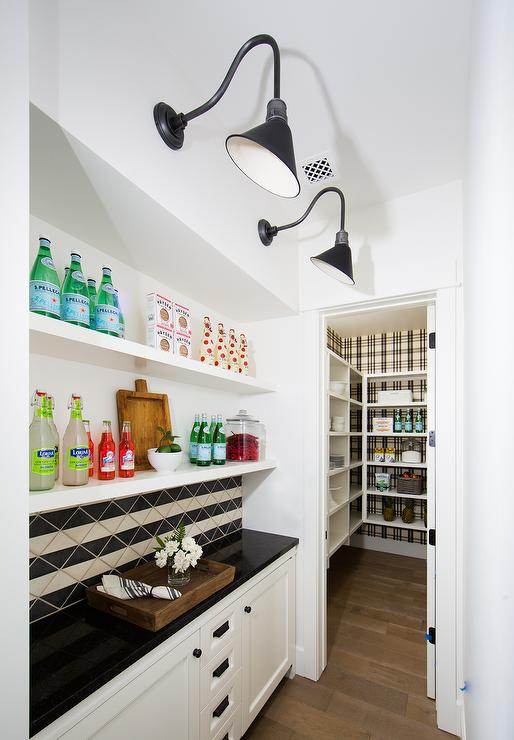 Black And White Plaid Wallpaper Placed Behind Pantry Shelves
