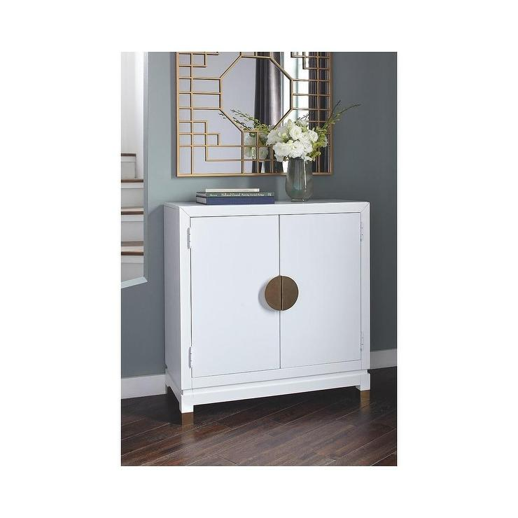 Ashley Walentin White Brass Pulls Accent Cabinet