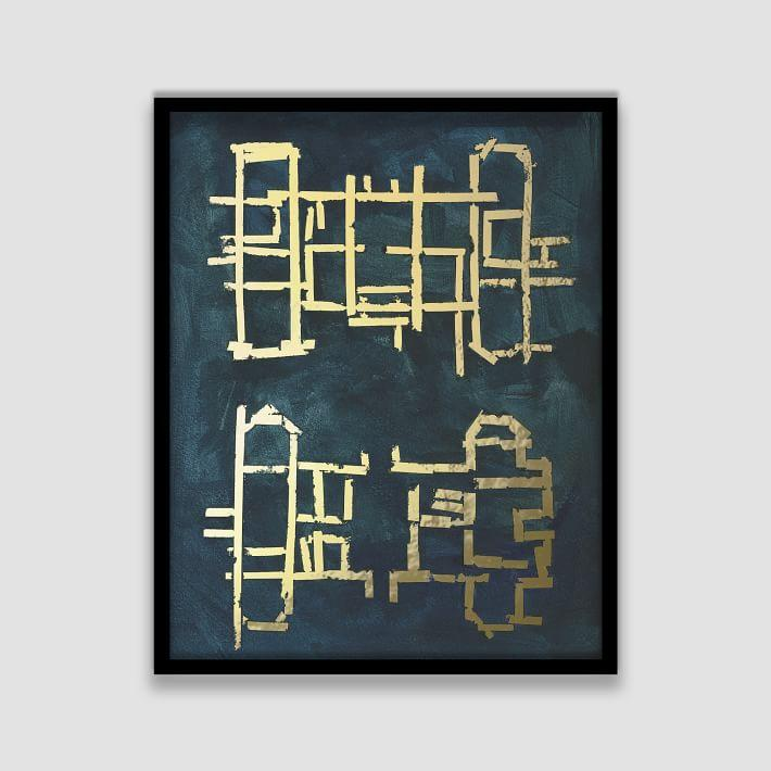The arts capsule blueprint gold foil framed print malvernweather Gallery