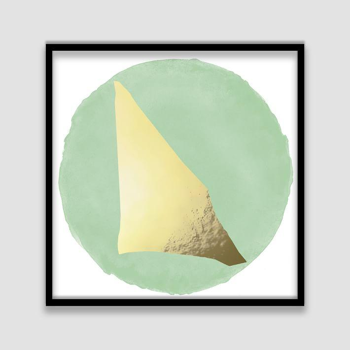 The Arts Capsule Mint Round Gold Foil Framed Print