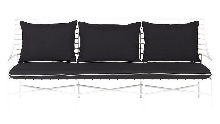Excellent Breton Curved White Metal Black Cushions Sofa Caraccident5 Cool Chair Designs And Ideas Caraccident5Info