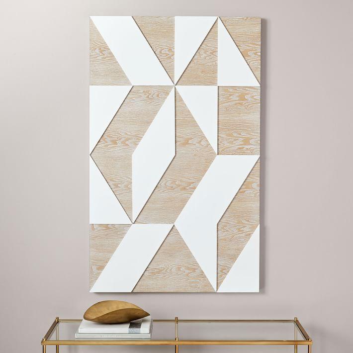 Polished Geometrical White Pale Wood Wall Art