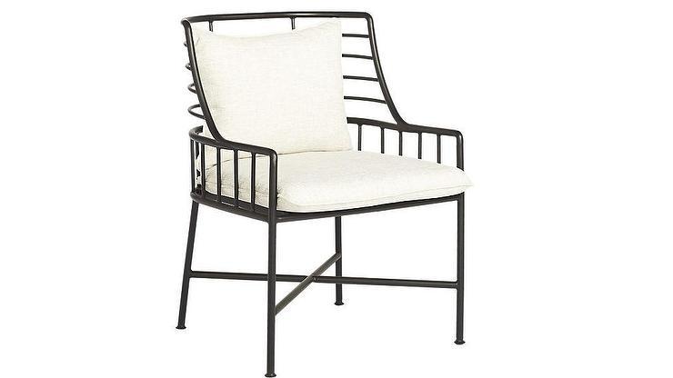 Breton Curved Black Metal White Cushions Dining Chair