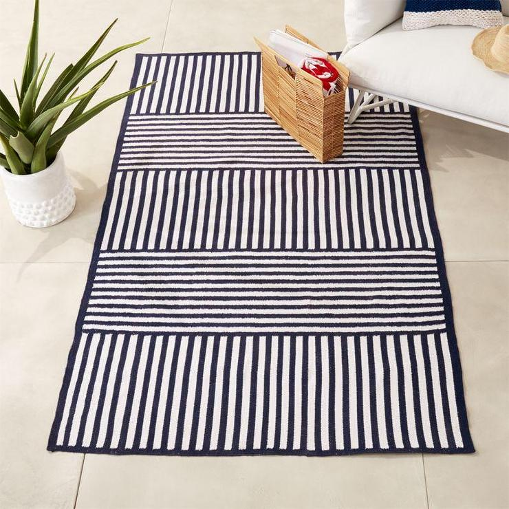 Navy White Striped Polyester Outdoor Rug