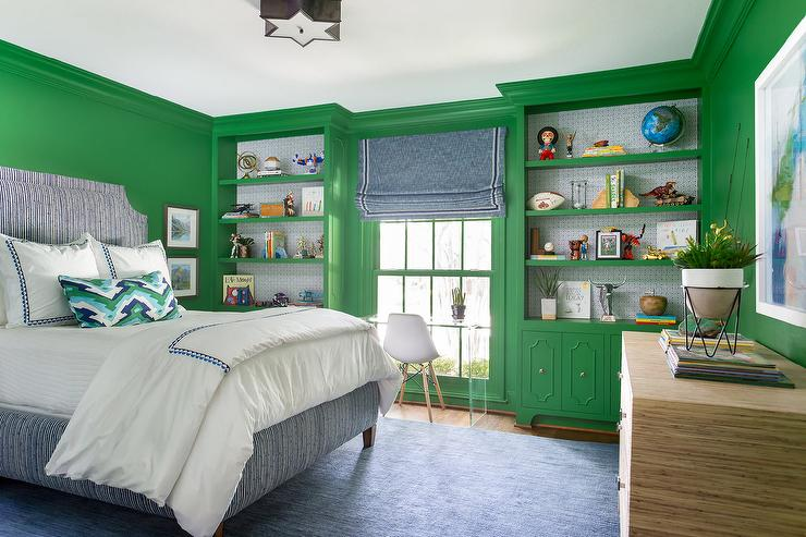 Blue Bedroom With Green Accents Design Ideas