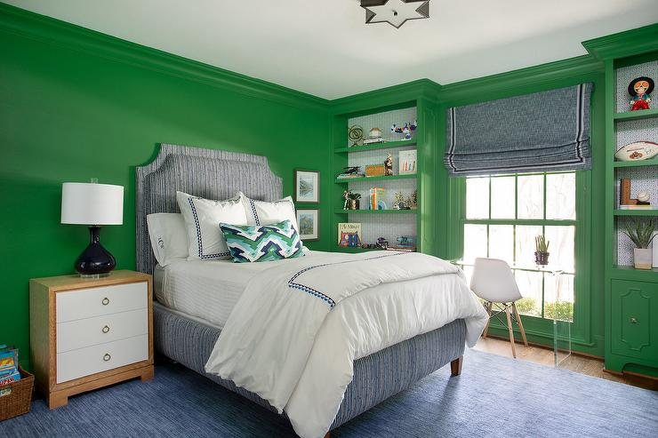 Blue and Green Boys Room with Green Built Ins - Contemporary - Boy\'s ...