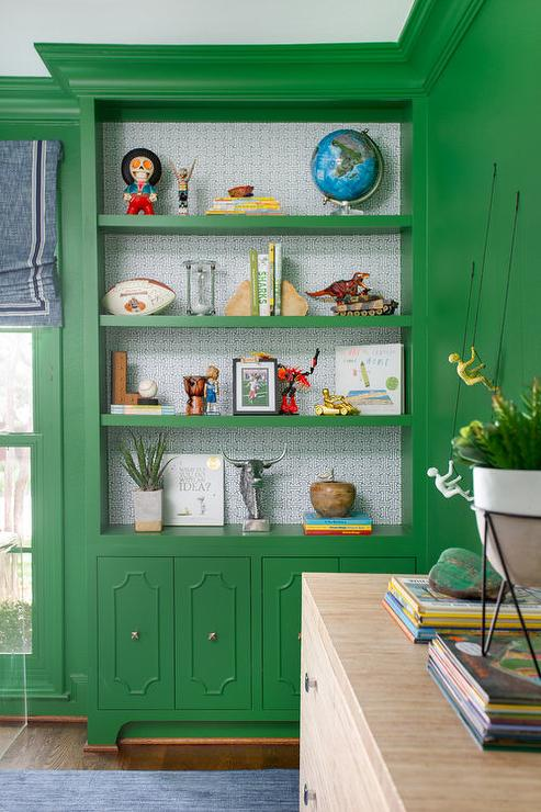 Emerald Green Built In Bookshelves