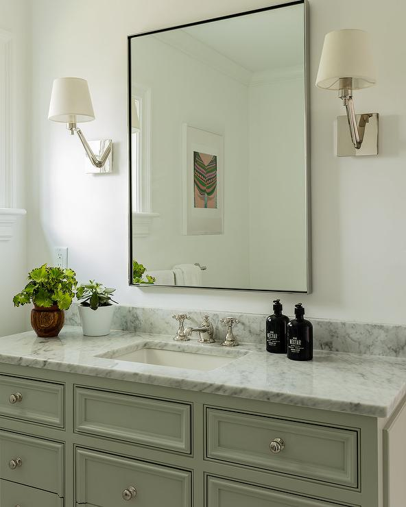 Gray Marble on Light Green Gray Bath Vanity - Transitional - Bathroom