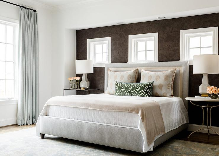 Brown Accent Wall With Light Gray Bed