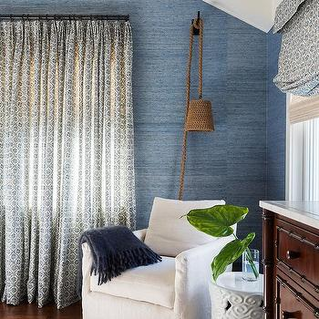 Blue Bedroom with Corner Slipcovered Accent Chair