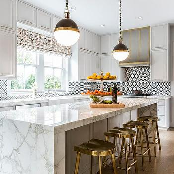 Silver And Gold Kitchen Hood Design Ideas