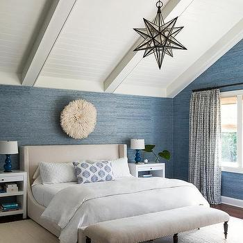 Blue Bedroom with Ivory Wingback Bed
