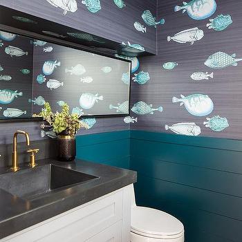 Light Gray And Peacock Blue Bathroom Transitional Bathroom
