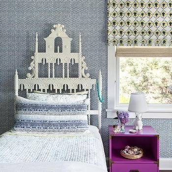 White Pagoda Headboard with Purple Campaign Nightstand
