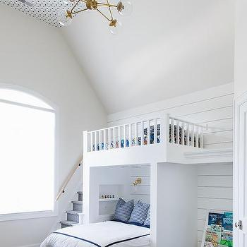 Pink And Blue Girl Room With Queen Bed Under Loft Bed