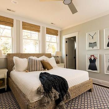 Wicker Bed with White Cottage Nightstands