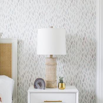 French Cane Headboard with White Nightstand